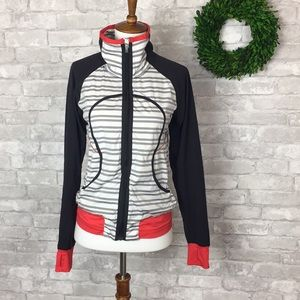 Lululemon Athletica Jacket White and Gray Stripe 4